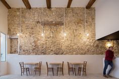 Image 9 of 13 from gallery of Fietje Beer Bar / Bertrand Guillon Architecture. Photograph by Julien Kerdraon Beer Bar Design, Exposed Beams, Beer Bar, Weekend House, Interior Wall Design, Cafe Restaurant, Rustic Tile, Stone Houses, Hotels Design