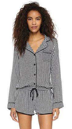PJ LUXE Women's Sleep Romper   PJ LUXE Women's Sleep Romper A soft, houndstooth-print sleep romper from PJ LUXE. Piped detailing. Notched fold-over collar and button placket. Drawstring waist. Long sleeves.  http://www.allsleepwear.com/pj-luxe-womens-sleep-romper/