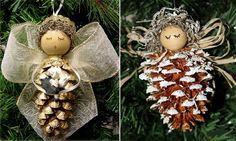 creative Cristmas crafts ideas natural materials DIY christmas angel pine cones
