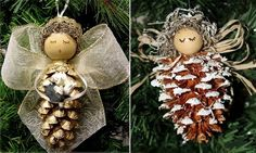 creative Cristmas crafts ideas natural materials DIY christmas angel pine cones