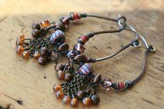 Allegory Hoops earringsGipsyBohemianblue African by Tribalis, $35.00