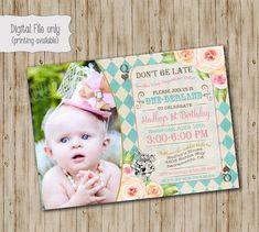 Alice in ONEderland Birthday Invitation by SweetBeeDesignShoppe