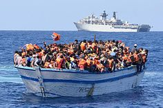 HMS Bulwark during refugee rescue operations in Med during late May/early June 2015.