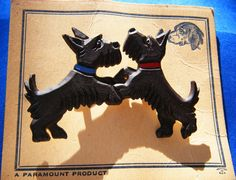 Vintage Celluloid Scotty Dogs Brooch Made in Czechoslovakia new on original card Estate Jewelry antique Scottish Terriers Pin Bakelite