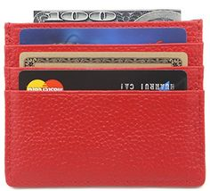 DEEZOMO Genuine Leather RFID Blocking Card Case Wallet Slim Super Thin 6 Card Slots Compact Wallet - Red *** You can get more details at