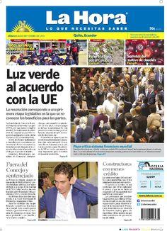 """Acá, nuestra portada de hoy, 26 de septiembre del 2015. Tema destacado: """"Luz verde al acuerdo con la UE"""""""