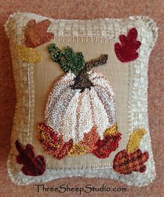 Mixed Media Charm Cushion using Punch Needle and Wool Applique - by Rose at ThreeSheepStudio.com