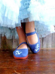 Ancora scarpe blu Flats ballerine bianche ancore di Rakunshop, $25.00
