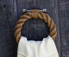 Manila, hemp, and steel nautical rope towel bar ring. Great for beach or lake house. Nautical Rope, Nautical Theme, Nautical Style, Nautical Design, Vintage Nautical, Coastal Style, Rope Decor, Nautical Bathrooms, Bathroom Beach