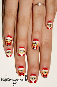 Christmas Minion Nail Art .x.  http://naildeesignz.blogspot.co.uk/2013/12/christmas-minion-nail-art.html