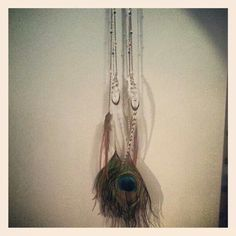 Tri-colored chain and tri-colored crystal beads feather drop earrings 40.00