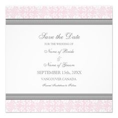 Pink Gray Wedding Save the Date Card