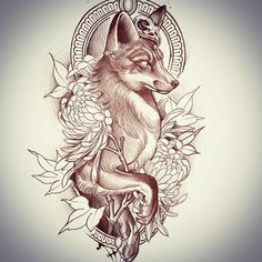 Best Ideas For Tattoo Ideas Cat Tatoo Tattoo Sketches, Tattoo Drawings, Body Art Tattoos, Sleeve Tattoos, Fox Tattoo Design, Tattoo Designs, Dream Tattoos, Wolf Tattoos, Tatoos