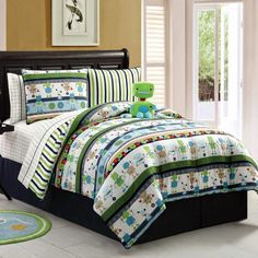 Adorable Robot bedding for kid's bedroom. Love this Robbie Robot Comforter Set by Victoria Classics on Full Comforter Sets, Bed Sets, Bedding Sets, Kids Beds For Boys, Kid Beds, Bed In A Bag, Bed Reviews, Bedding Collections, New Room