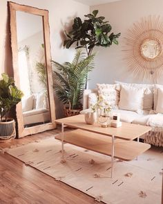 10 Insanely Cool Rooms That Started With a Bohemian Rug modern living room, eclectic living room, living room decor ides, wallpaper Living Room Mirrors, Boho Living Room, Living Spaces, Mirror Room, Sun Mirror, Simple Living Room Decor, Living Room Inspiration, Home Decor Inspiration, Design Inspiration