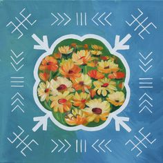 Traditional Latvian folk symbols with flowers on blue. Acrylic on canvas, 40x40cm.
