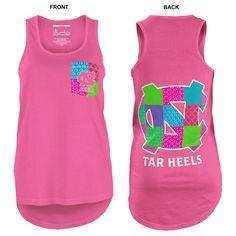UNC Tar Heels Juniors' Faux-Pocket Patchwork Tank (Neon Pink) http://www.johnnytshirt.com/carolinastore/product.php?sku=90673&s=1103 PRICE: $24.00