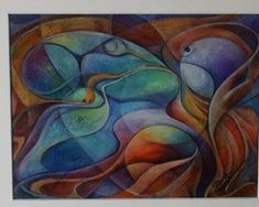 abstract spheres and swirls - watercolor and color pencil  | eBay