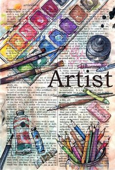 art: cute idea for art class... Copy or rip out page from old dictionary and have students illustrate a word on that page