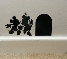 Disneys Mickey and Minnie Mouse Hole vinyl decal. Made from premium vinyl. Several sizes to choose from. colors available are Black, White, Red,