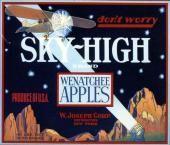 Wenatchee, Washington Sky-High Airplane  Apple Crate Label