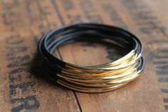 Mag Mile Black Leather and Gold Stacking