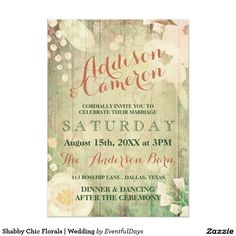 Shabby Chic Florals | Wedding Card Romantic and sweet wedding invitation in pink and green. Faded painting of flowers on wooden boards, charming and elegant fonts. Perfect for a rustic country wedding.