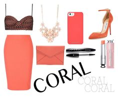 """""""coral!! ·coolcoral"""" by yareb ❤ liked on Polyvore featuring beauty, Christian Dior, Rebecca Minkoff, Jimmy Choo, Topshop, Elizabeth and James, Full Tilt and Lancôme"""