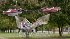 A Man Reclines in a Hammock Suspended by a Large Remote Control Drone