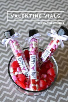 Cute Valentines idea. Valentine's vials! Fun way to decorate your Valentines candy!