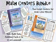 Math Center Bundle-  Add+It (Facts 0-5) and Spot*It (Facts 6-10)    Both Favorite Centers in ONE LOW PRICED BUNDLE!   These were designed to fit perfectly in a jewel CD case- Oh, and they are kid tested and teacher approved! ($)
