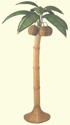 NEW Hawaiian Tropical Rattan Wooden Palm Tree Floor Lamp Light, All Hand Made