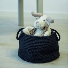 Crocheted Navy Blue Basket
