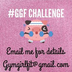 Come Join the GymGirlFitness Challenge   Starting August 4th  a couple spots left #GGFitnessChallenge     ~Nutritional Guide ~supplement discount  ~12 full weeks of printable workouts  ~YouTube videos  ~invite only Facebook group for questions and sharing your progress photos with others doing the challenge! After the 12 weeks there will be a WINNER :)  The person that makes the most progress by following this plan will Win   only $25 Email me to save your spot NOW Gymgirlfit@gmail.com