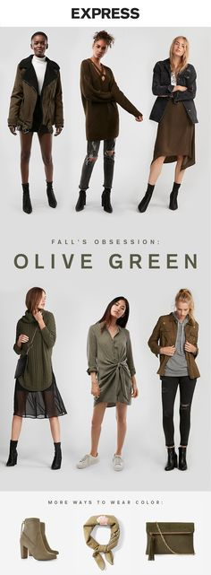 Deep green is trending this fall. Shop green outerwear, sweaters and more at Express.