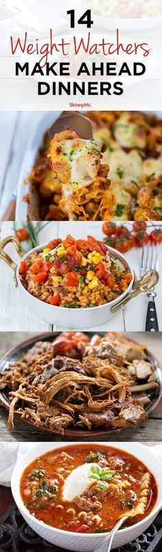 14 Weight Watchers Make-Ahead Dinners What's for dinner? Check out these delicious recipes and add one (or more!) of these 14 Weight Watchers make-ahead dinners to the menu this week. Weight Watcher Dinners, Menu Weight Watchers, Plats Weight Watchers, Weight Watchers Freezer Meals, Healthy Cooking, Healthy Dinner Recipes, Healthy Eating, Delicious Recipes, Healthy Meals