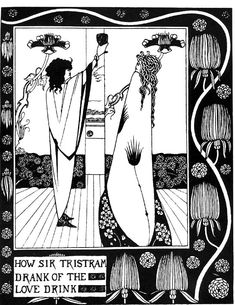 How Sir Tristram drank of the love drink    Aubrey Beardsley, 1872-1898    1893-94    Photo-reproduction of pen-and-ink drawing    From Le Morte d'Arthur