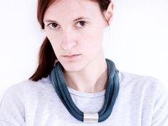 Ombre Cotton rope necklace in steel blue and chrome von ChezKristel, $45.00