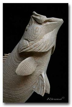 Detail of a Rinsui fish carving. Love it, so full of character