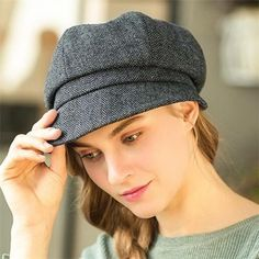 Vintage tweed newsboy cap for women warm winter newspaper boy hat 69b0e4b5653e