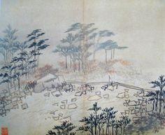 (Korea) Bridge, 1796 병진년화첩11 by Danwon Kim Hong do (1745-1806). color on paper. Joseon Kingdom, Korea. Hoam art Museum, Korea. 도교도.