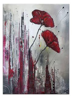 City Flowers - Blumenbild Blumen gemalt - Mohnblumen abstrakt rot grau #Blumen #abstrakt #kunst #bilderkaufen #wohnzimmerbild