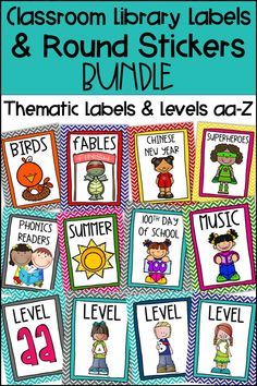 These Classroom Library Labels are perfect for organizing your Kindergarten, First Grade, Second Grade, or Upper Elementary classroom library. Use with your own Book Bins and Baskets. Matching Round Sticker labels are included for your individual books. Printable version included or use the editable template to use your own font. Over 225 labels including School Subjects & Themes, Months of the Year, Seasons & Holidays, Animals, Genre, Classroom Organization, Famous Authors, and Levels aa-Z.