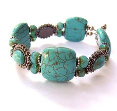 Turquoise Slider Bracelet Double Strand by CinLynnBoutique on Etsy, $32.00