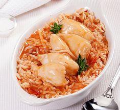 Lulas com molho e arroz de tomate