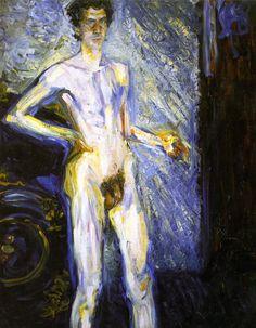 Self Portrait (Selbstbildnis (Akt in ganzer Figur), 12 September 1908) by Richard Gerstl on Curiator – http://crtr.co/2bbx
