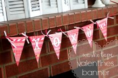 Washi Tape Valentines Banner - Delicate Construction  Valentines day decor #washitape
