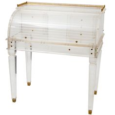 Amazing Very Rare Limited Edition Cylinder Secretary Desk in Lucite Late 1980s