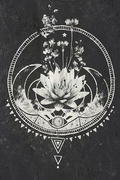 Lotus tribals moons and flowers. Beautiful idea for an elegant tattoo :)