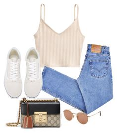"""""""Sin título #3739"""" by camilae97 ❤ liked on Polyvore featuring Levi's, Vans, Gucci and Ray-Ban"""